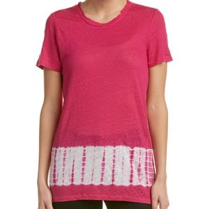 TWO By VINCE CAMUTO Pop Pink Tie Dye Linen Blouse